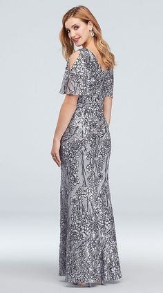 Sequined and beaded gowns for the Mother of the Bride. Embellished and sequin dresses beautiful and elegant Mother-of-the-Bride wedding attire. White Tie Wedding, Silver Dress, Silver Sequin, Beaded Gown, Groom Dress, Western Outfits, Davids Bridal, Formal Gowns, Wedding Attire