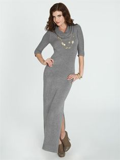 Knit Maxi Sweater Dress From Ardenb Cowl Neck Side Split