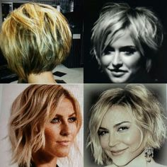 Blonde wavy short bob hair