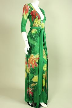 1970's Holly's Harp Hand-Painted Jersey Gown image