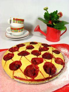 Waniliowe Ciasto z Truskawkami Just My Delicious Strawberry Vanilla Cake, 2 Eggs, Pepperoni, Pizza, Yummy Food, Snacks, Baking, Strawberries, Powder