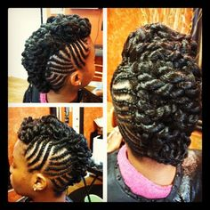 An AWESOME braided mohawk with lots of pretty twists!