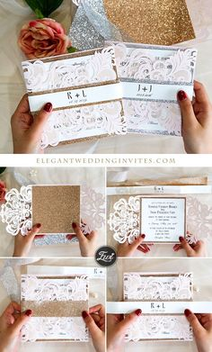 Elegant blush pink laser cut wedding invitation DIY Ideas with rose gold glitter belly band Wedding Themes, Diy Wedding, Dream Wedding, Wedding Ideas, Elegant Wedding Colors, Blush Pink Weddings, Laser Cut Wedding Invitations, Reception Card, Holy Ghost