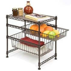 Seville Classics Stackable 3-Tier Sliding Double Basket Cabinet Organizer with Bonus Liners, 11.5' W x 17.5' D x 18.5' H,  Satin Bronze * Visit the image link more details. (This is an affiliate link) #KitchenCabinetsMakeover