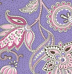 Last One Available - Half Yard of Mod Girls - Paisley in Purple. $3.85, via Etsy.