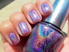 make-up, nails, nail polish, glitter, metallic, holographic, rainbow, silver, OPI