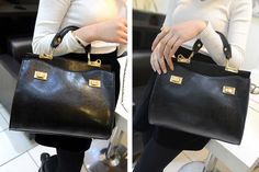 Elegant Women's Tote Bag With Solid Color and Double Locks Design Black