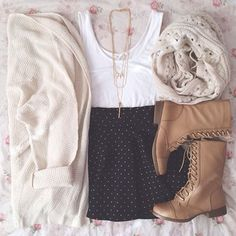   Top / Boots • @Forever 21   Skirt • Storenvy   Cardi • @wetseal   Scarf • @papersandpeonies   Necklace • @Charlotte Russe  