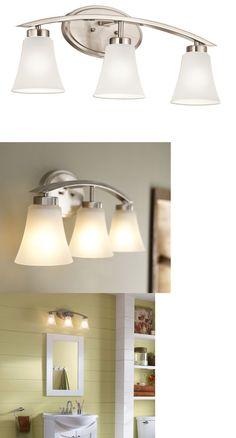 Bathroom Lighting Fixtures On Ebay wall fixtures 116880: 3-light 8.5-in brushed nickel oval vanity