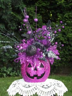 Halloween Floral Arrangement / Halloween Decoration / Jack O Lantern Arrangement / Pink and Black / By English Rose Designs Oh on Etsy, $57.99