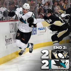 End 2: #Pens and Sharks are all tied up at 2-2. Pittsburgh leads 20-19 in shots.