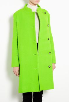 Suzane Acid Green Wool Coat by Acne - neon coat
