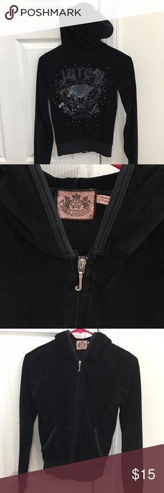 Authentic Juicy Couture zip up sweater XS Excellent condition.  Clean, free from stains. Zipper works perfectly.  One pocket has a small pull at the seam. I put a safety pin as shown in last pic, works just fine. Could use a few stitches if you know how to make it perfect  :) 100% Authentic. Juicy Couture Sweaters
