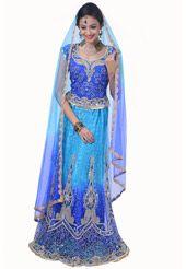 Aqua Blue and Blue Net and Chantelle Net Lehenga Choli with Dupatta