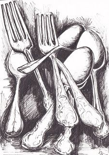 i like this idea of the monochromic detailed drawing of the cutlery and the dark., like this idea of the monochromic detailed drawing of the cutlery and the dark space behind it. Space Drawings, Art Drawings, Art And Illustration, Cutlery Art, Object Drawing, Spoon Drawing, Observational Drawing, Still Life Drawing, A Level Art