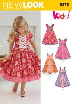 "Traditional kinda-twirly ""girly"" dress, but offers decorative variation within the pattern. Personally, I like the thinner straps, and the bow on ""D"", with the double-layered skirt of the others."