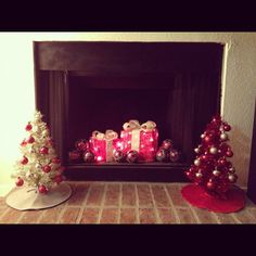 Cute...presents and decor inside fireplace