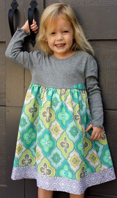GREY turquoise YeLLow dress for FALL12m5t by myrosiescloset, $32.00