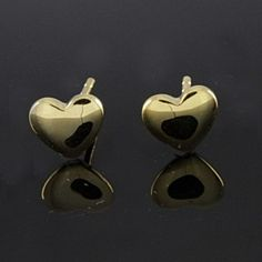 14K Yellow Gold Over Tiny Heart Stud Earrings by JewelryHub on Opensky