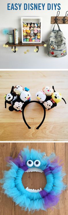 Easy DIYs That Your Kids Will Go Nuts Over These Disney DIYs are perfect fun for the whole family. From Tsum Tsum Shadow Boxes and DIY Mickey Ears to your own Sulley from Monsters, Inc. Deco Disney, Disney Mouse, Disney Tsum Tsum, Disney Ears, Cute Disney, Fun Crafts, Diy And Crafts, Diy Cadeau, Disney Rooms