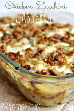Chicken Zucchini Casserole - One of the best Zucchini Dishes you will ever eat! For all that darn zucchini Think Food, I Love Food, Good Food, Yummy Food, Tasty, Casserole Dishes, Casserole Recipes, Noodle Casserole, Stuffing Casserole