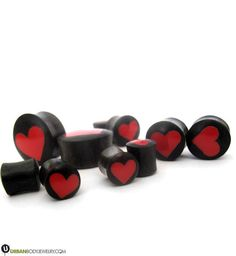 HEARTBREAKER Red Heart Stone Plug Natural Stretchers UK Ear Tunnel Tunnels Plugs