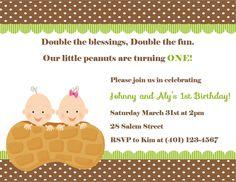 Twin's First Birthday Invitation - (Digital File). $12.00, via Etsy.