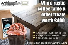 Enter our #competition to #win an #EatSleepLive #coffeetable & other #Coffee&Cake treats worth £400:  1, Follow EatSleepLive on Pinterest (http://www.pinterest.com/eatsleeplive/),  2, Re-pin this pin (http://www.pinterest.com/pin/375909900119155893/), 3, Re-Pin the coffee table prize (http://www.pinterest.com/pin/375909900119164138/), 4, Just drop us a note in the comments below to let us know you've entered! Ts & Cs here: http://www.eatsleeplive.co.uk/blog/competitions/coffee-and-cake/