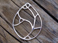 Sterling Silver Art Deco Pear Charm 23x30mm by Sharonunlimited (Craft Supplies & Tools, Jewelry & Beading Supplies, Findings & Hardware, sterling, silver, artisan, handmade, link, findings, jewelry, design, connector, join, teardrop, art deco, pear)