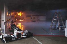 Explosion happens in Williams team garage shortly after Pastor Maldonado wins F1 race