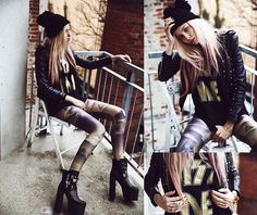 Rockin it out. www.FashionistaSista.ca KISS ME (by Lina Tesch) http://lookbook.nu/look/4472095-KISS-ME