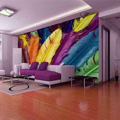 estilo europa 3d de luxo multicor arte plumária mural grande papel de parede impermeável tv cenário sala de casa decoração US $498.99