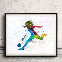 Woman soccer player 01 - Fine Art Print Glicee Poster Home Watercolor sports Gift Room Children's Illustration Wall - SKU 2289 by Paulrommer on Etsy