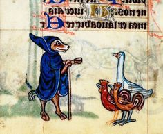 Goat in blue cape talking to attentive chickens and goose. Medieval illustration.