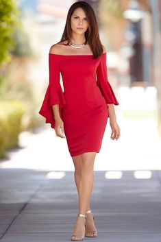 Valentine's Day Date Night | Women's Sexy Off-The-Shoulder Red Dress.