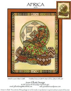 Joan Elliott Africa - Cross Stitch Pattern. Model stitched on 28 Ct. Rainforest evenweave by Polstitches (or fabric of your choice) with DMC floss, Kreinik #4 B