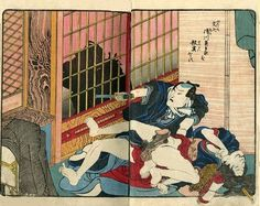 'Violent murder scene' from the series 'Kari no fumi' by Utagawa Kunisada. You can check out more info on this and 12 other of the most violent shunga designs by clicking the image. Japanese Prints, Japanese Art, Kuniyoshi, Spring Pictures, Erotic Art, Scene, Art Prints, Anime, Painting