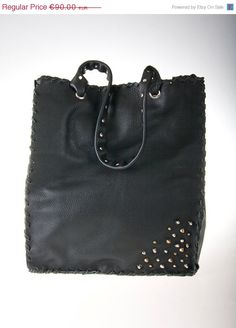 on sale black leather tote bag by ElenLovelyCollection on Etsy, €81.00