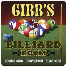 Billiards Personalized Drink Coasters Puzzle Set. Idle hands do the devil's work. That's why we offer these unique custom coaster sets that double as both surface protectors and a miniature puzzle to provide endless hours of entertainment. Personalized Billiards coaster sets include a place for two lines of text plus established year worked into a wide variety of full-color designs. These coasters are made to look like they came straight from the neighborhood pub, so