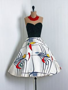 1950's Vintage Atomic-Deco Novelty Print-Silk & Black Silk-Velvet Couture Low-Plunge Strapless Rockabilly Full Circle-Skirt Party Dress  $350