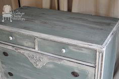 Restored dresser using milk paint technique?  Very pretty.  Have to try.