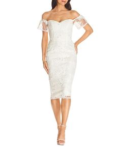 Dress the Population Tara Off-the-Shoulder Lace Bodycon Dress - White Sheath Dress, Bodycon Dress, Dress The Population, Sequin Mini Dress, Dress Collection, Gowns, Formal Dresses, Lace, Clothes