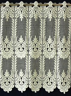 Classic Macrame Lace Cafe and Valance Curtain Victorian Window Treatments, Victorian Windows, Tab Curtains, Home Curtains, Lace Window, Macrame Curtain, Antique Lace, Lace Design, Beautiful Kitchens