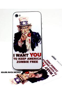 Killer Ducks Keep America Zombie Free iPhone 4/4S Skin