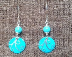 """Upcycled Recycled Aluminum Earrings - Round turquoise """"swirl""""  earrings with turquoise beads"""