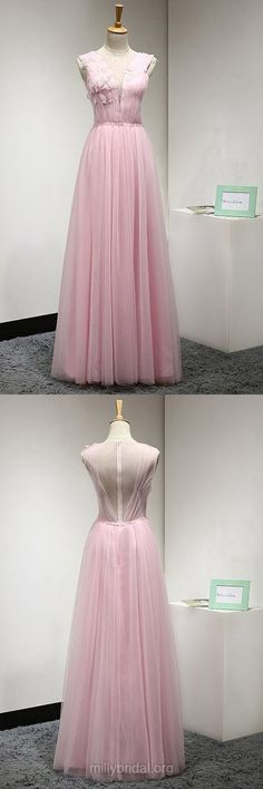 Pink Prom Dresses Long, Popular A-line Prom Dresses 2018, Scoop Neck Tulle Prom Dresses Beading