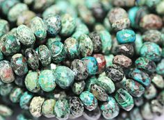 Natural Nice Multi Chrysocolla Faceted Roundel Beads