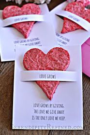 Serendipity Refined Blog: Hand Made Flower Seed Paper Plantable Heart Favors