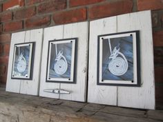 Set of 3 Distressed White Plank Frames for 5x7 Photo with Boat Cleat
