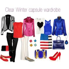 """""""Clear Winter capsule wardrobe"""" by expressingyourtruth -- for Type 4 bold & striking woman Clear Winter, Deep Winter, Capsule Wardrobe 2018, Winter Typ, Seasonal Color Analysis, Fashion Capsule, Fashion Colours, Winter Wardrobe, Winter Outfits"""